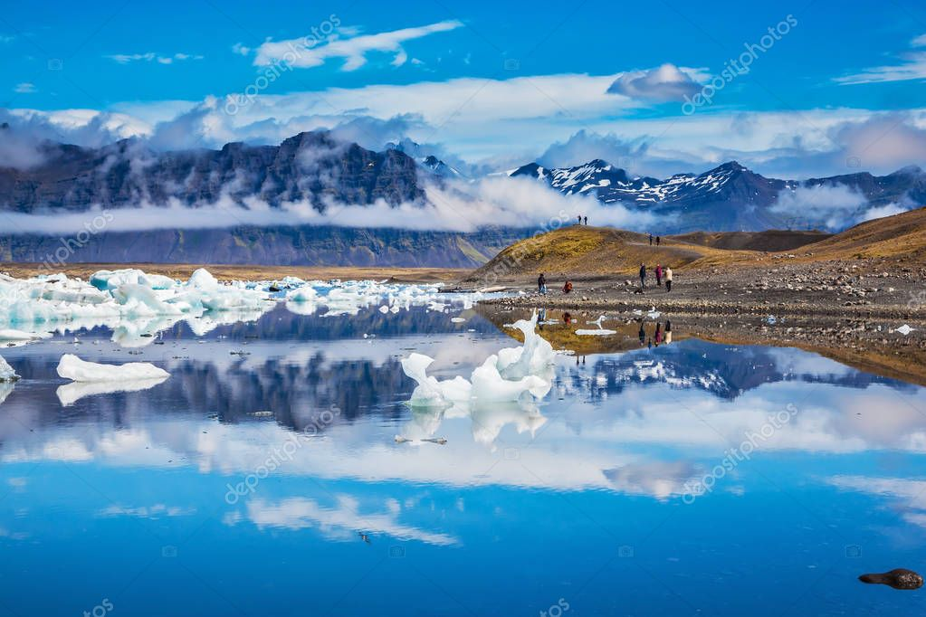 Volcanic mountains and glaciers