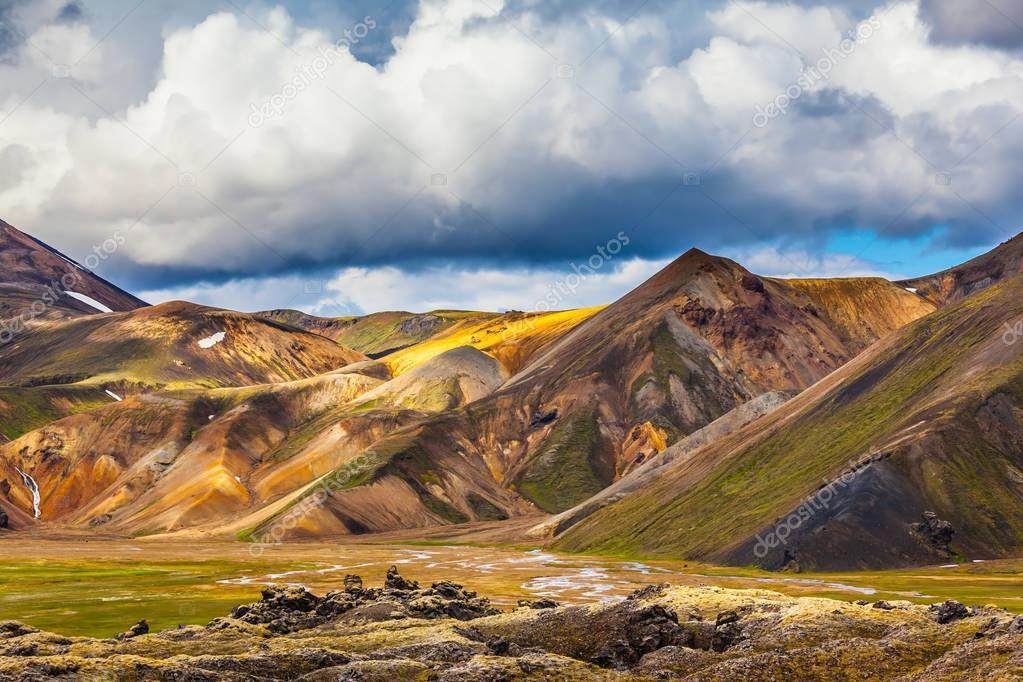 Multi colored mountains