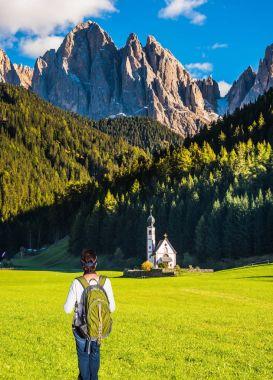 woman tourist admire church