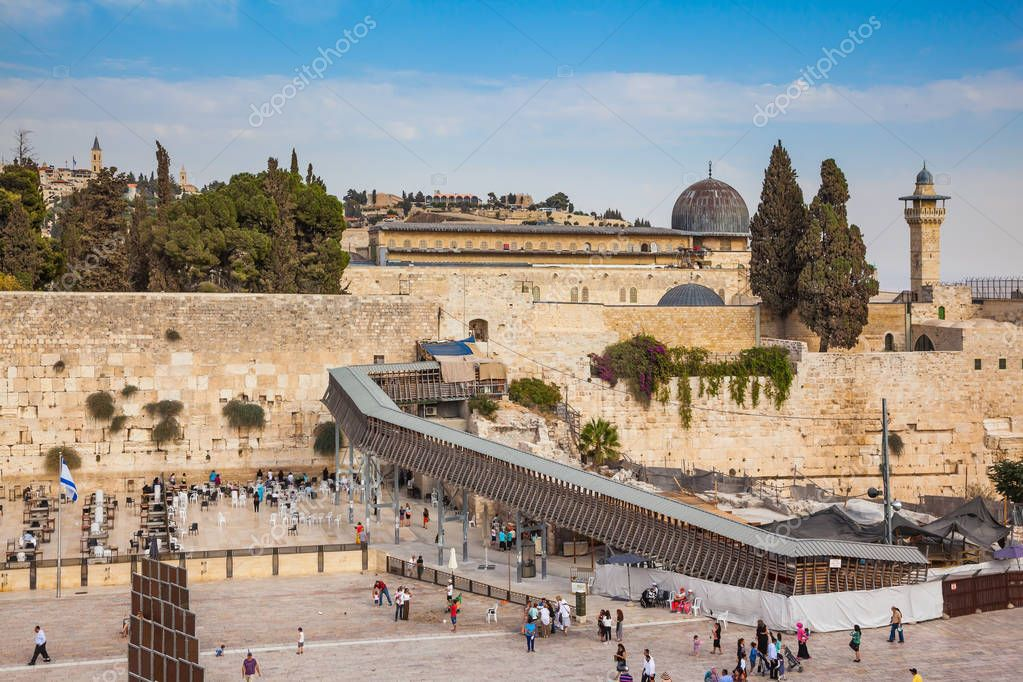 Western Wall of the Temple is preparing for evening prayer.  Autumn holiday Sukkot