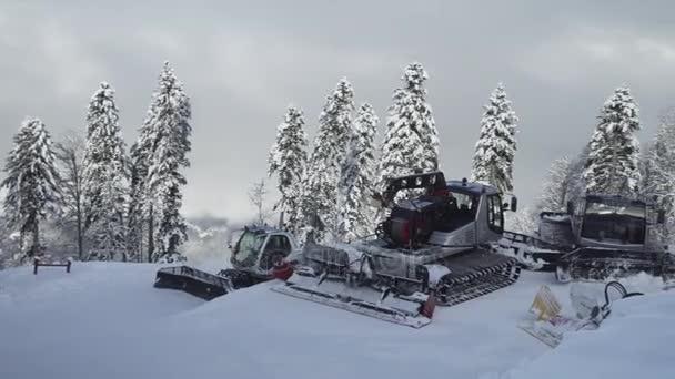 Snow grooming on slope of ski resort Gorky Gorod stock footage video