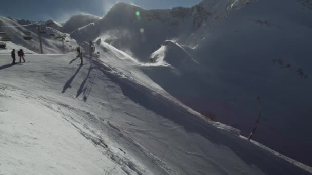 Ski slopes on the top of ski resort Gorky Gorod 2200 meters above sea level stock footage video