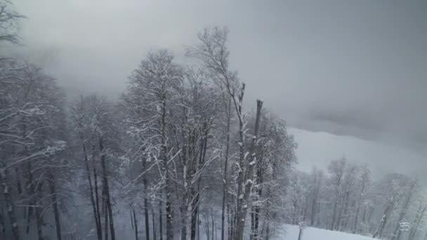 Ski slopes on North slope Aibga Ridge Western Caucasus at all-season resort Gorky Gorod stock footage video