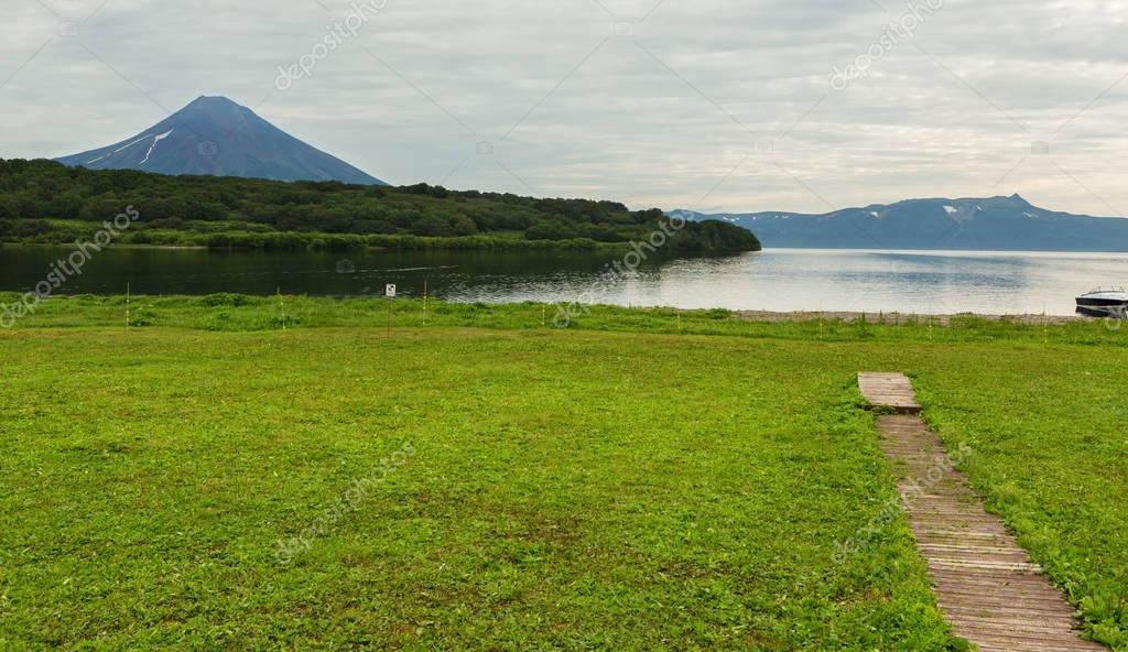 Ilyinsky stratovolcano near Kurile Lake.