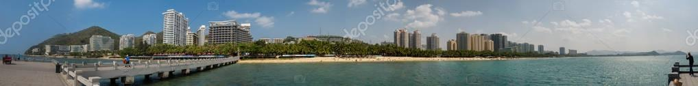 Panorama of Dadonghai bay on the tourist island of Hainan