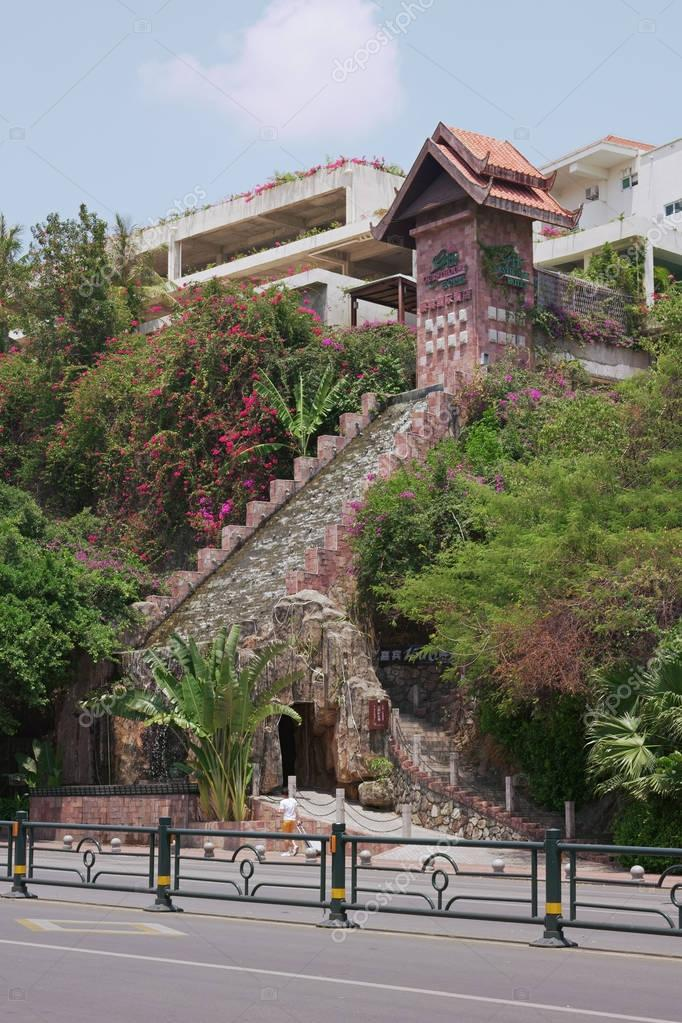 Architecture in the streets of the tourist area of Sanya