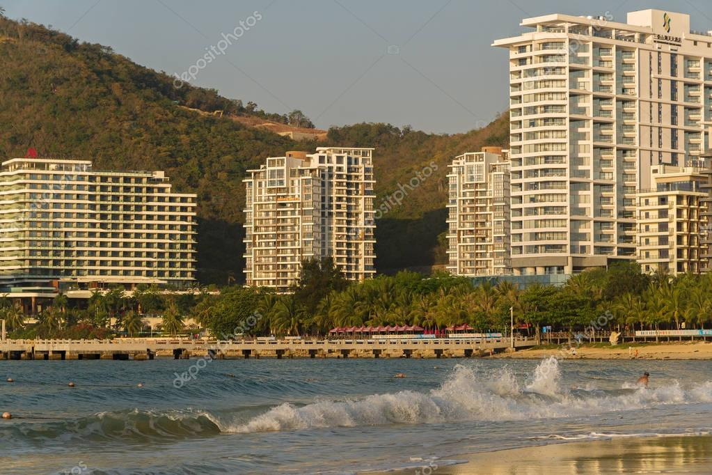 Strong waves of South China Sea on the Dadonghai Beach on the tourist island of Hainan