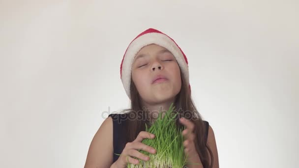 Beautiful naughty girl teenager in a Santa Claus hat with an appetite eats a sprouted oats on white background stock footage video.