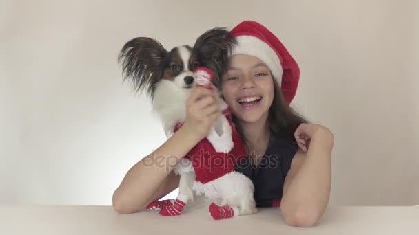 Gyönyörű tini lány és a kutya kontinentális játékszer spániel Papillon a Mikulás jelmez integet egy mancs boldogan a fehér háttér stock footage videóinak.