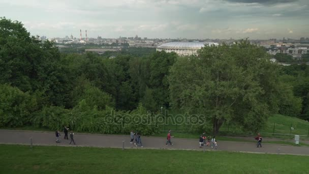 Panorama of Moscow from the observation platform on Sparrow Hills stock footage video