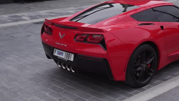Chevrolet Corvette sports car in the new beach and entertainment space La Mer stock footage video