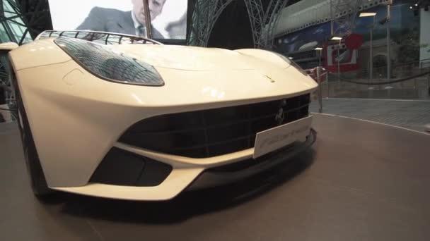 Exhibition car in a theme park Ferrari World Abu Dhabi stock footage video