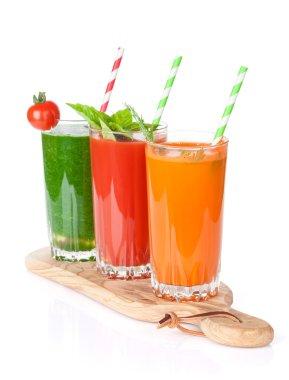 Three fresh vegetable smoothies