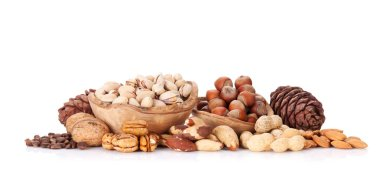 Various nuts in wooden bowls
