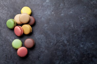 Colorful macaroons on table