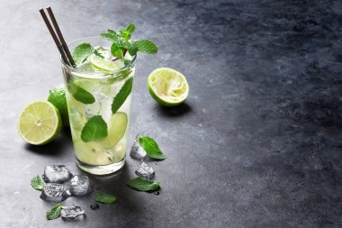 Mojito cocktail on stone table