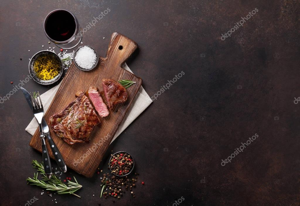 Grilled ribeye beef steak