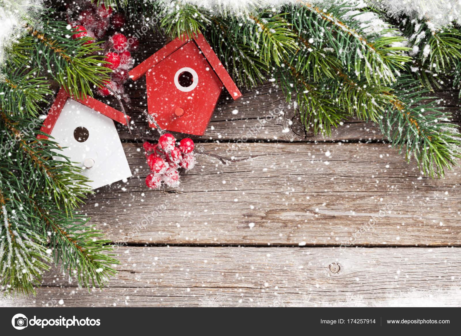 Christmas Birdhouses.Christmas Birdhouses Decor And Fir Tree Stock Photo