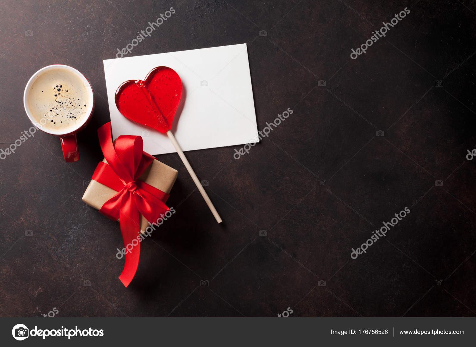 Tarjeta Felicitación Del Día San Valentín Corazón Caramelo Café ...