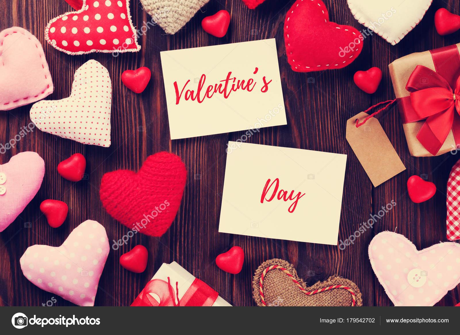 Día San Valentín Marcos Corazones Hechos Mano Sobre Tabla Madera ...