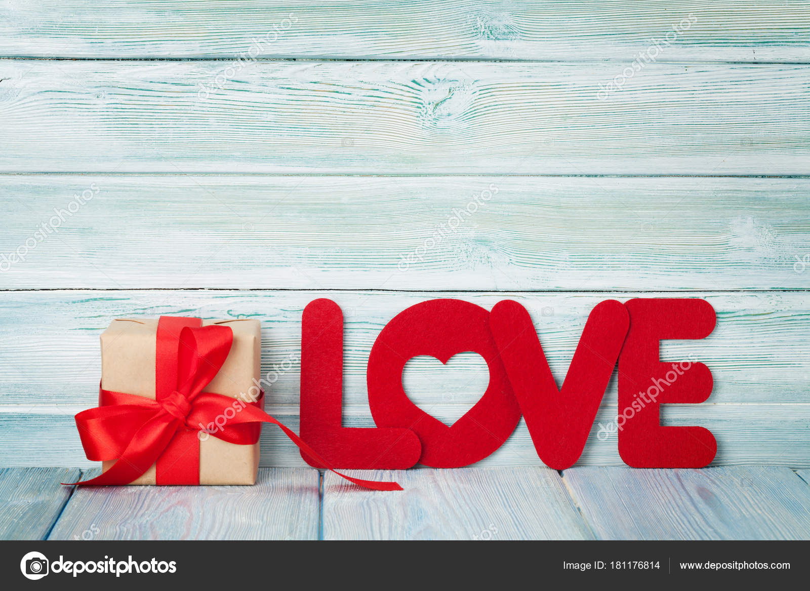 Valentines Day Greeting Card Gift Box Love Word Wooden Background Stock Photo