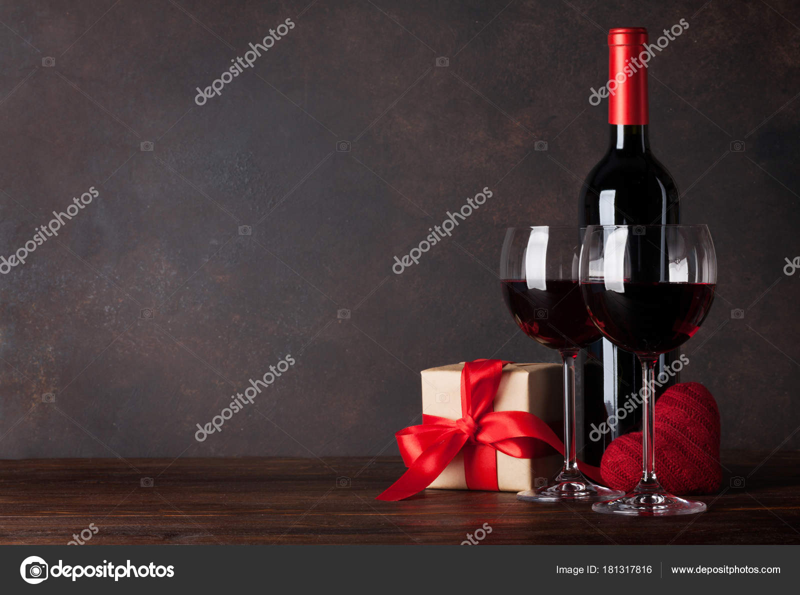 Valentines Day Greeting Card Red Wine Decorative Heart Gift Box