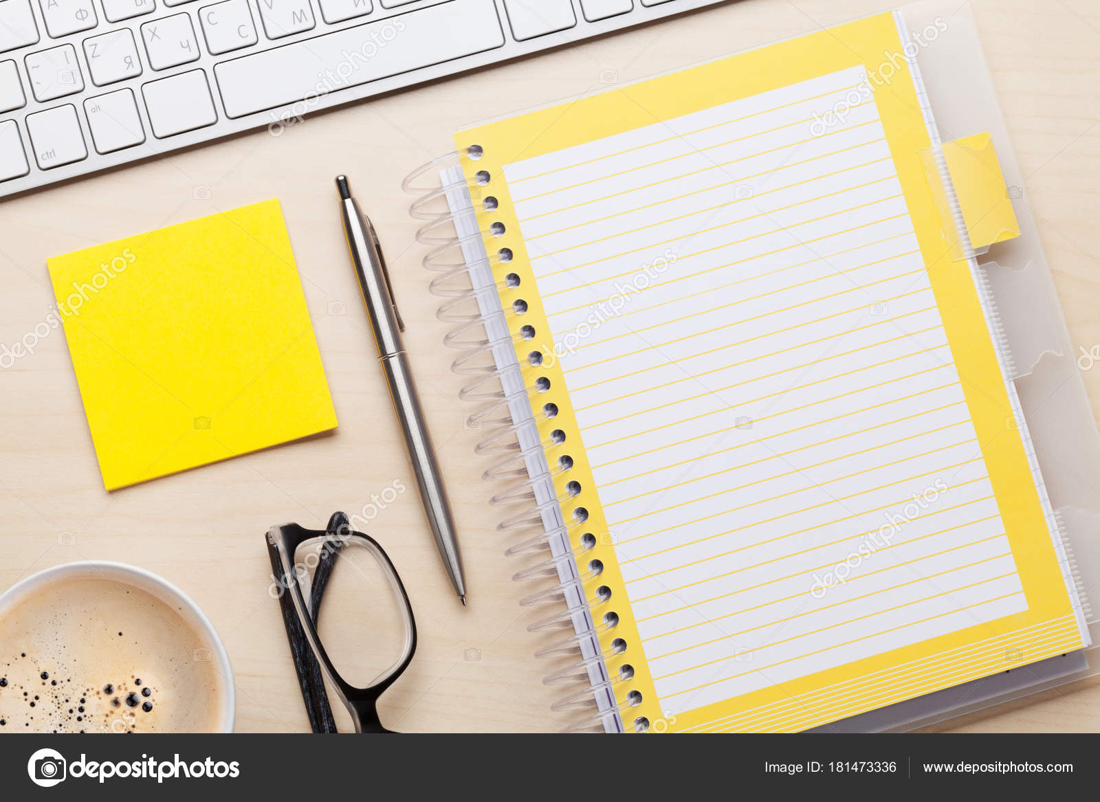 office table top view. Wooden Office Desk Computer Coffee Supplies Tabletop Top View Space \u2014 Stock Photo Table