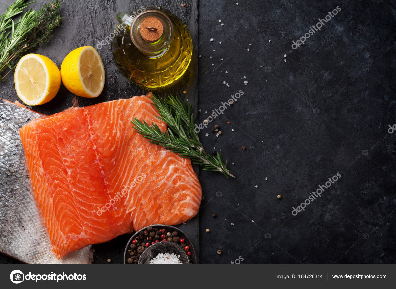 Raw Salmon Fish Fillet Spices Cooking Stone Table Top View Stock