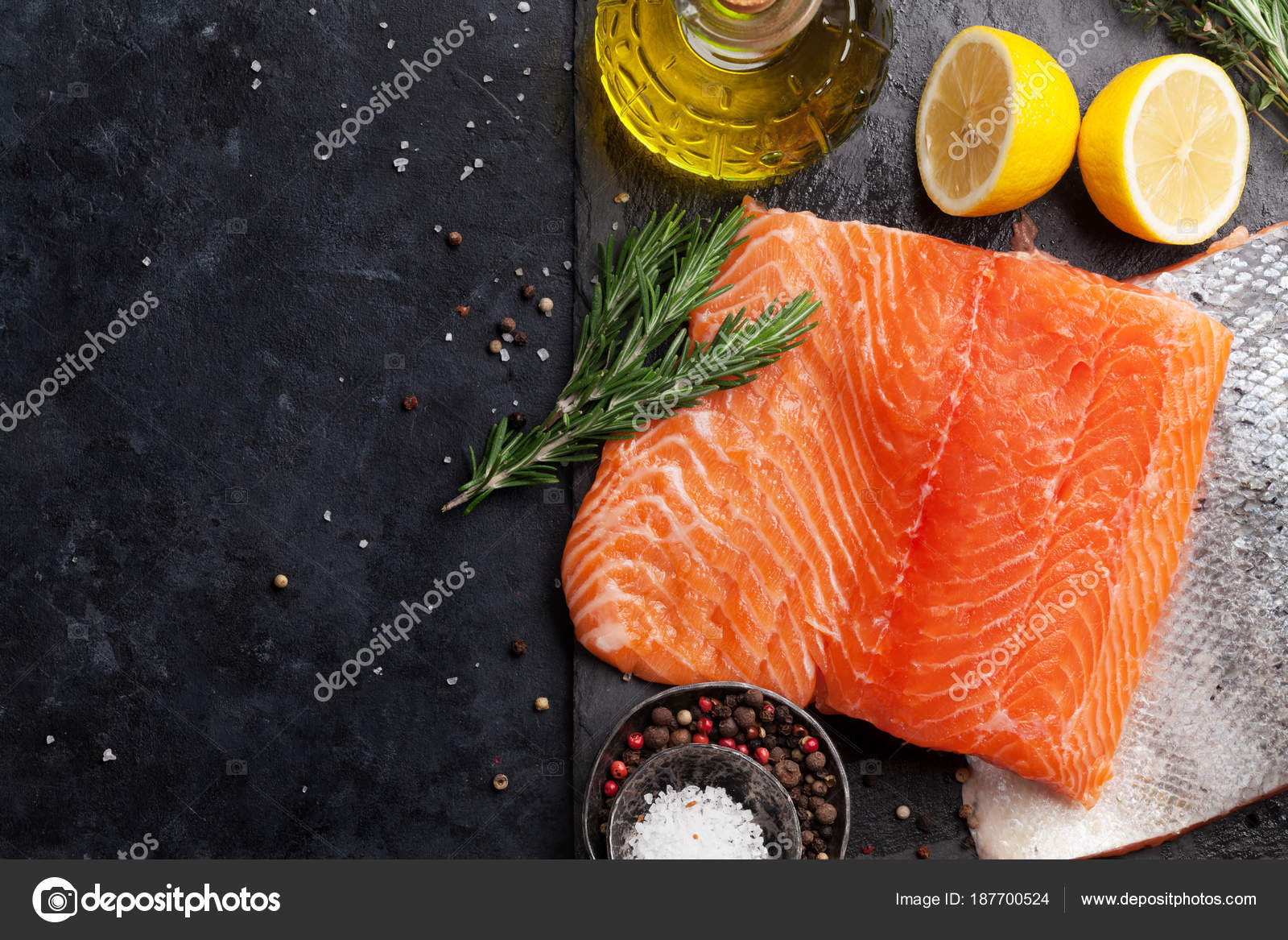 Raw Salmon Fish Fillet Spices Cooking Cutting Board Top View Stock