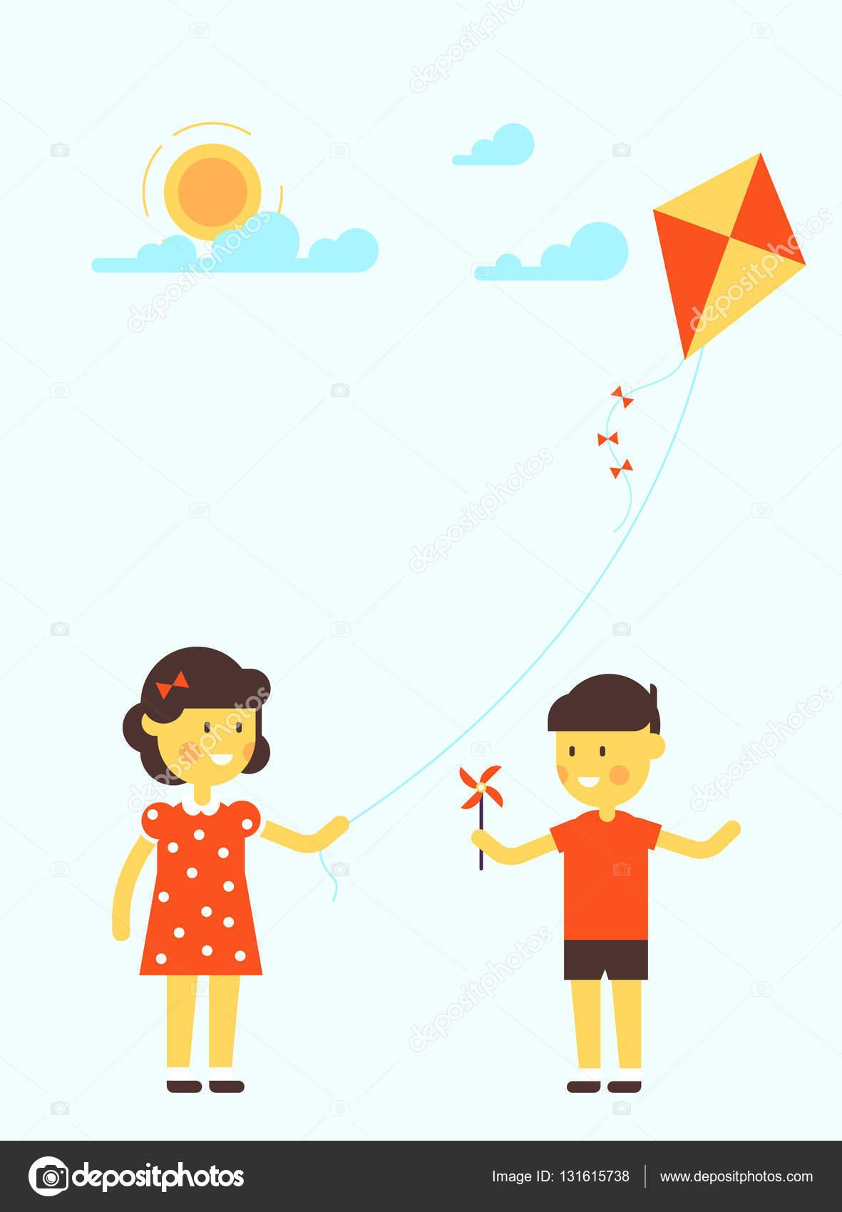 Ittle Mädchen und Jungen mit kite — Stockvektor © Zodchiy #131615738