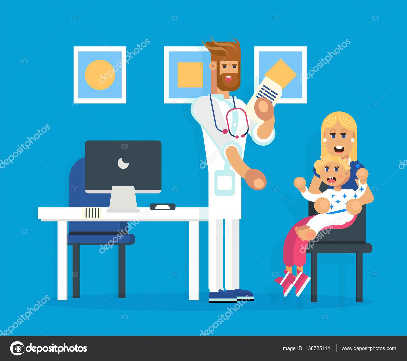 El hospital con el pediatra y la madre y el niño — Archivo Imágenes ...