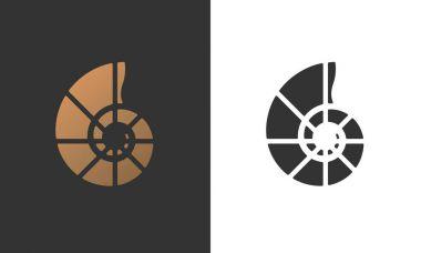 Vector illustration with seashell nautilus.