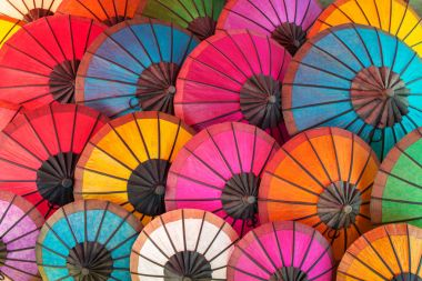 Colorful traditional handmade umbrellas