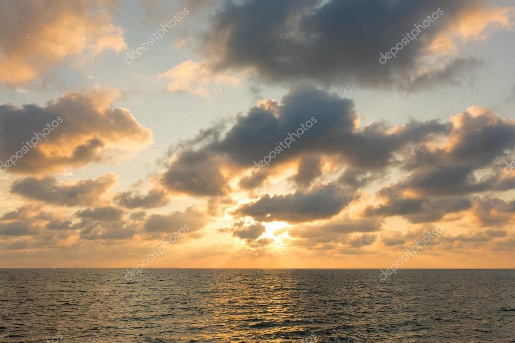 Beautiful sunset sky over the Andaman sea near Koh Kud island, Thailand