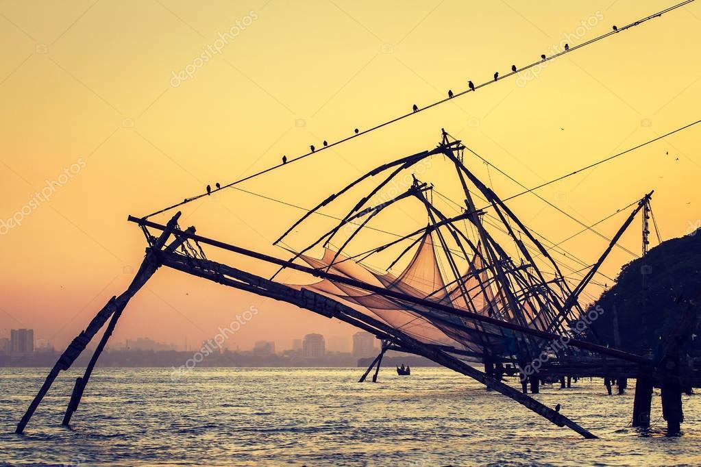 Chinese fishing net at sunrise in Cochin