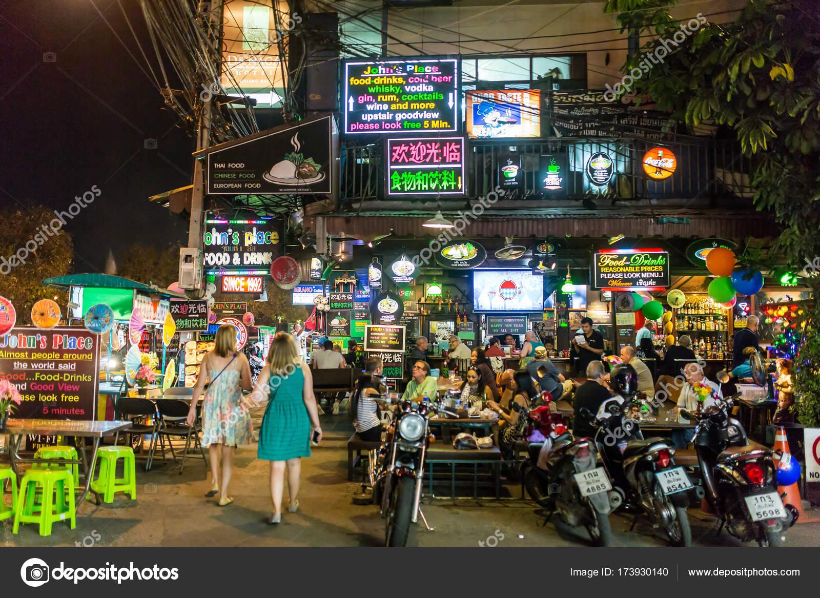 Chiang Mai Tailandia Enero 2017 Vida Nocturna Centro Chiang Mai