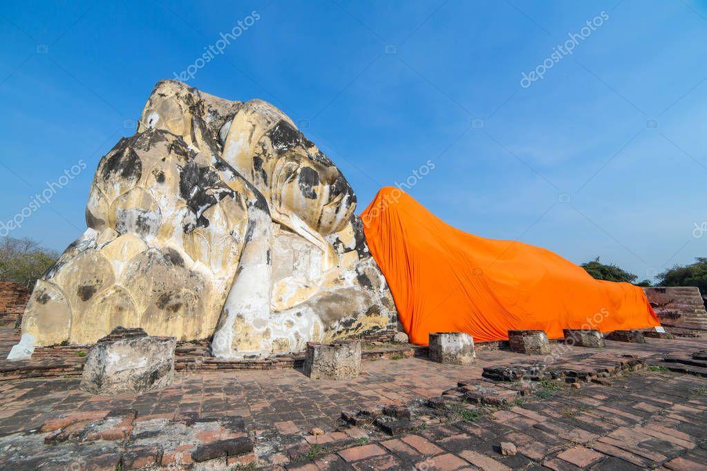 Reclining Buddha at Wat Lokayasutharam in Ayutthaya, Thailand