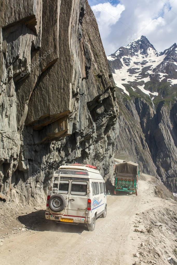 Kargil, India - June 17, 2017: Traffic on the Zojila Pass between Srinagar and Kargil in Jammu and Kashmir, India