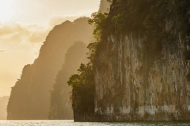 Beautiful landscape of the high limestone cliffs in Khao Sok National Park