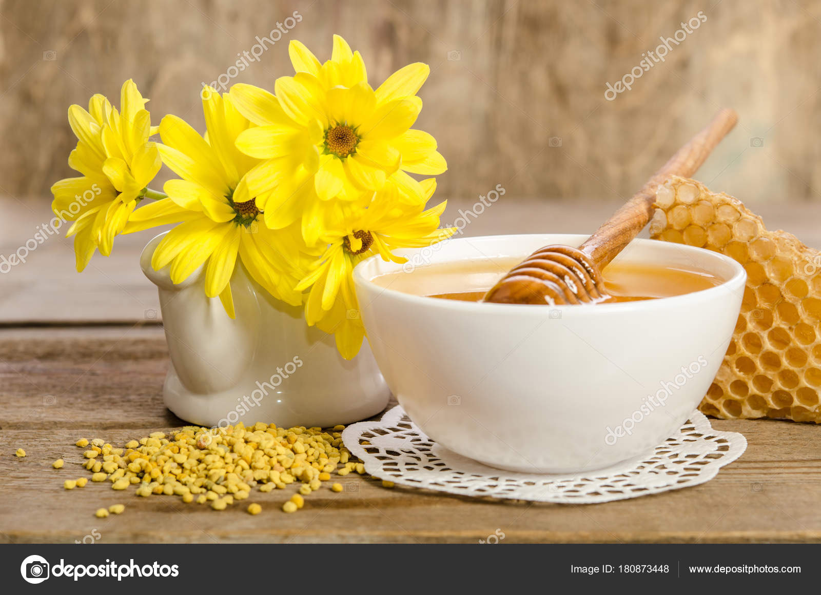 Yellow Flowers And Bee Products Honey Pollen Honeycombs Stock
