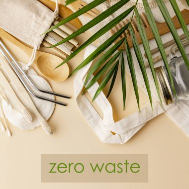 Zero waste concept. Cotton bag, bamboo cultery, glass jar, bamboo toothbrushes, hairbrush and straws on color background, flat lay, copyspace. Plastic free. Sustainable lifestyle concept. stock vector