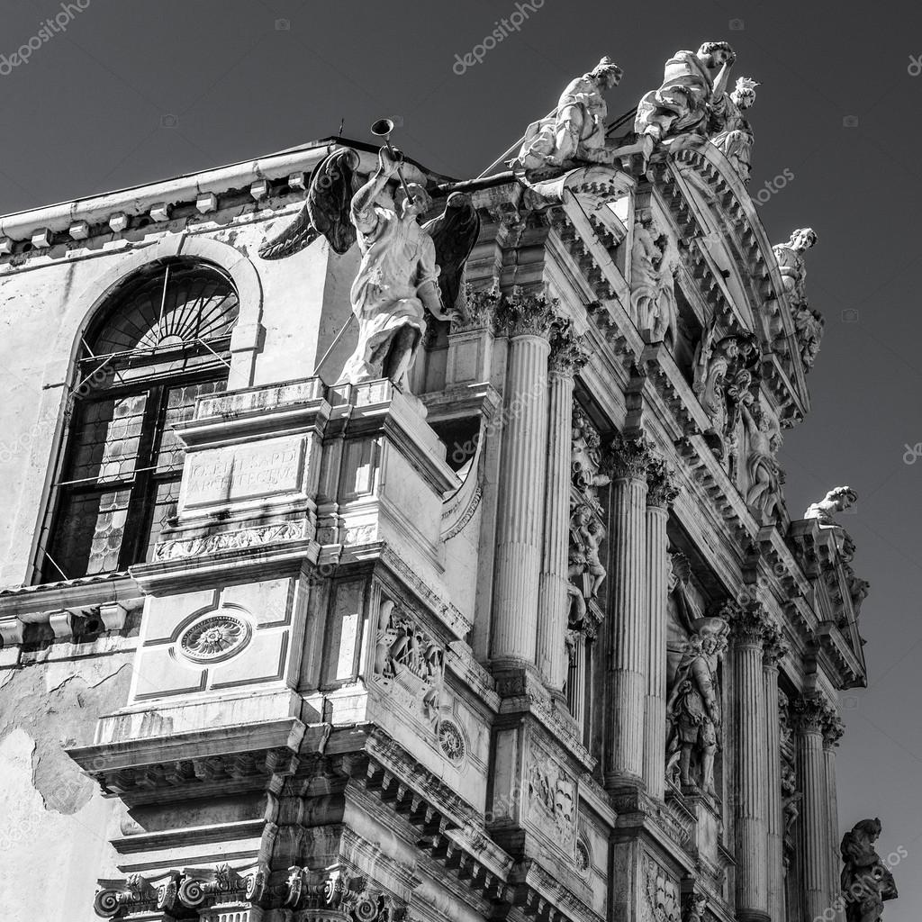 famous architectural buildings black and white. VENICE, ITALY - AUGUST 17, 2016: Famous Architectural Monuments Facades Of Old Medieval Buildings Close-up. Black-white Photo On August 2016 In Venice, Black And White P