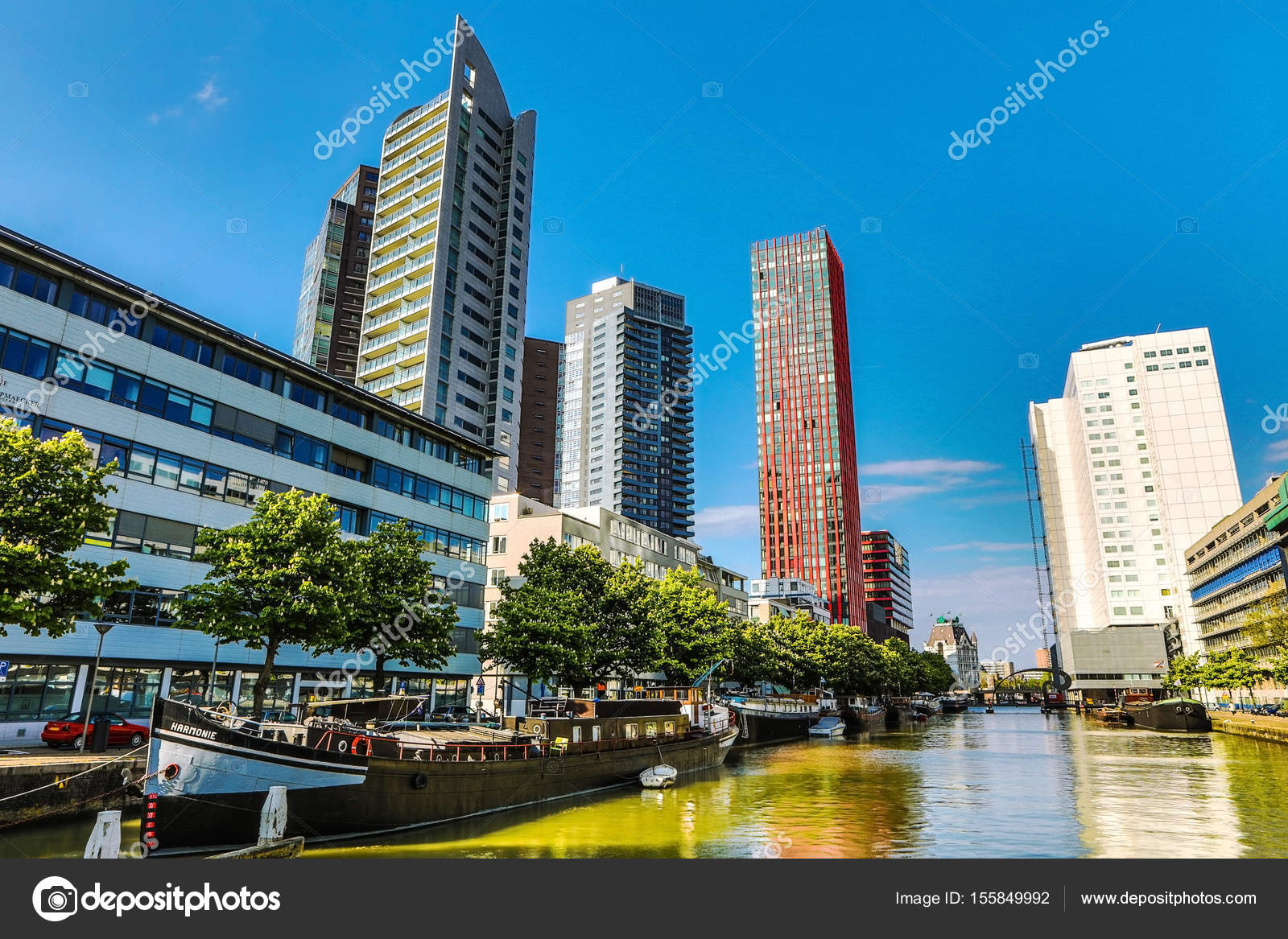 ROTTERDAM, NETHERLANDS   MAY 17, 2017: Modern Buildings City Architecture  Close Up Design Elements At Day Time. May 17, 2017 In Rotterdam    Netherlands.