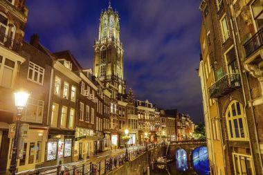 Ancient European church close-up at night time. Utrecht - Holland.