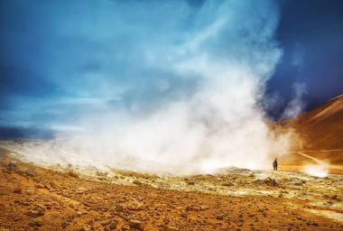 Icelandic geyser vapors and picturesque nature.