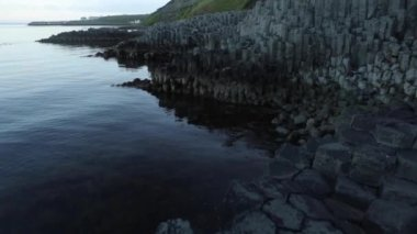 Rocky shore of the Icelandic Gulf at morning time. Slow Motion Footage.