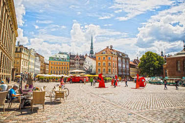 RIGA, LATVIA - AUGUST 27, 2017: Famous places and building architecture of Riga city. Riga, Latvia - August 27.