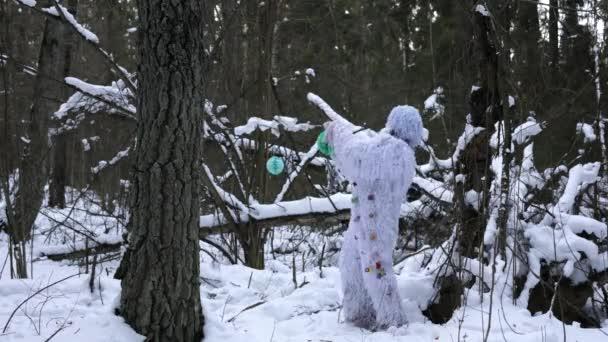 Yeti pohádková postava v zimním lese. Fantasy 4k Time Lapse.