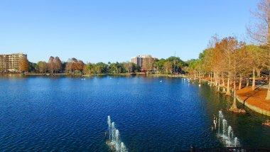 Beautiful aerial view of Orlando skyline over Lake Eola, Florida