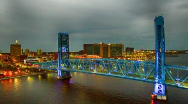 Jacksonville bridge at night, aerial view of Florida